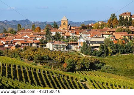 View of autumnal vineyards on the hill and small town on background in Piedmont, Northern Italy.