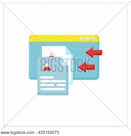 Resume Service Flat Icon. Online Resume Creating Or Recruitment App. Personal Recruitment Informatio