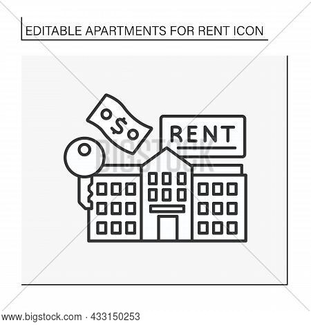 Lease Line Icon. Flats Building For Rent. Money For House.apartment For Rent Concept. Isolated Vecto