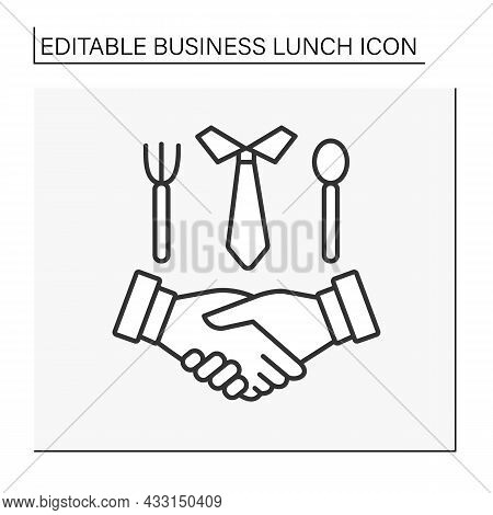 Deal Line Icon. Coordination Of Cooperation During Lunch. Leaders Shake Hands.business Lunch Concept
