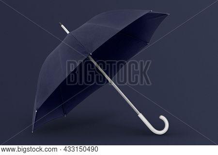 Blue umbrella with copy space