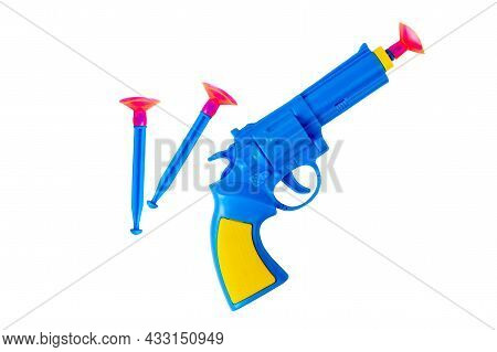 Toy Pistol. Childrens Pistol On A White Background. Blue Pistol With Suction Cups.