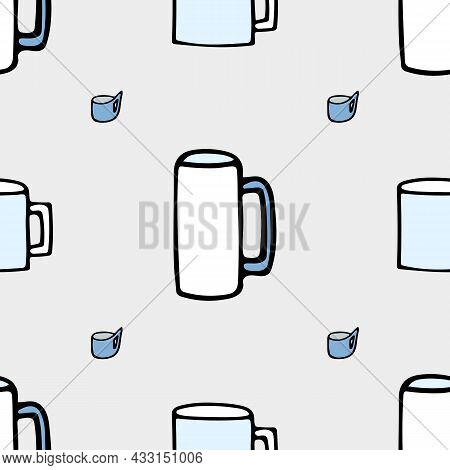 Pattern With Kitchen Mug On A Grey Background And Lettering Kitchen.