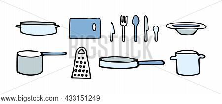 Colored Set Of Vector Illustrations Of Plates And Mugs, Knives And Spoons, Forks And Cutting Board,