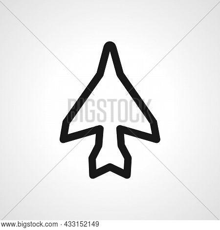 Military Aircraft Vector Line Icon. Jumbo Jet Linear Outline Icon. Military Aircraft Sign.