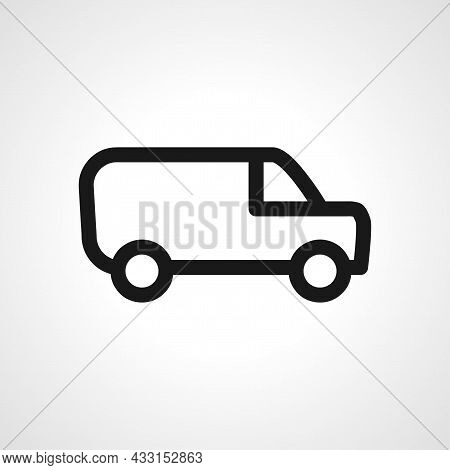 Mini Van Vector Line Icon. Mini Van Linear Outline Icon.