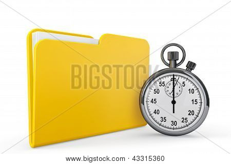 poster of Yellow folder with stopwatch on a white background