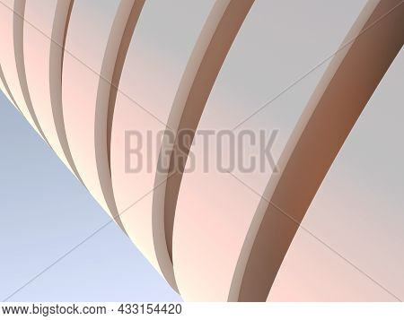 Parking Lot Building Exterior, Abstract Fragment Of Spiral Ramp Exterior Over Blue Sky Background. 3