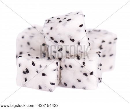 Dragon Fruit Isolated On White Background. Pieces, Cubes Of Pitaya Or Pitahaya Fruit, With Clipping