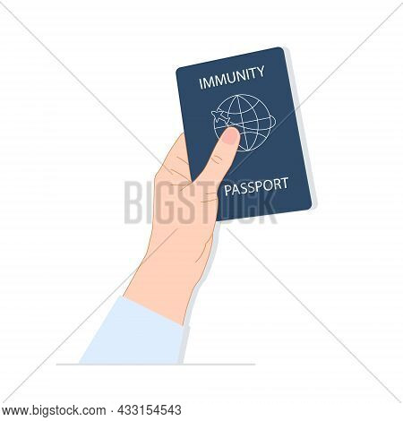 Hand Holds A Vaccination Passport. Vaccination, Negative Result Of Coronavirus, Vaccination Document