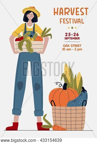 Harvest Festival Banner. Farmer Woman With Vegetables In Modern Style. Farm Market Or Eat Local Conc
