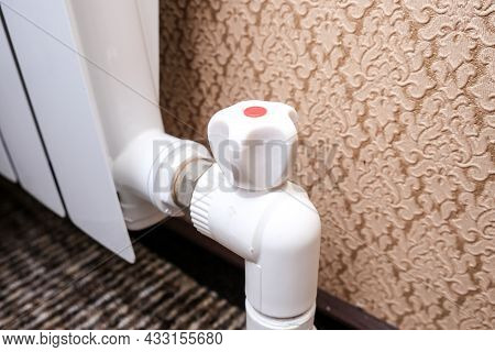 Heat Regulation On A Heating Radiator. Temperature Regulator, Thermostatic Radiator