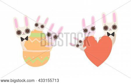 Cute Hare Family With Mother, Father And Cub Holding Heart And Easter Egg Vector Set
