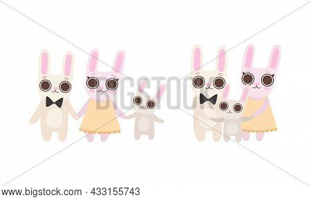 Cute Hare Family With Mother, Father And Cub Standing Holding Paws And Smiling Vector Set