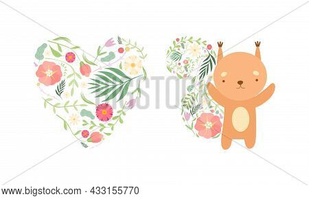 Spring Floral Composition With Heart And Cute Squirrel With Lush Flower Tail Vector Set