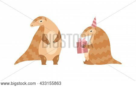 Pangolin Or Scaly Anteater With Clawed Paw Standing And Holding Gift Box Vector Set
