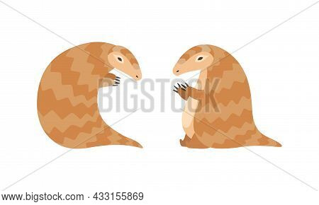 Pangolin Or Scaly Anteater With Clawed Paw Sitting Vector Set