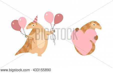 Pangolin Or Scaly Anteater With Clawed Paw Holding Heart And Balloon Vector Set