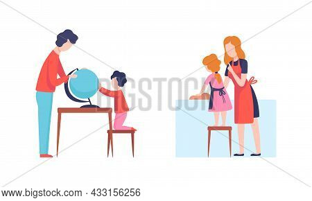 Man And Woman Parent Bringing Up Kids Educating And Teaching Culinary And Geography With Globe Vecto