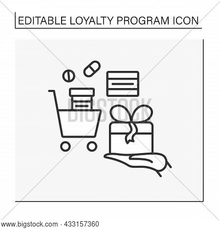 Loyalty Program Line Icon. Discount For Customers.rewards, Discounts, Gifts From Pharmacy To Client.