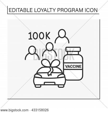 Loyalty Program Line Icon. 100k Customers. Automobile And Vaccine To Covid19. Shopping Concept. Isol