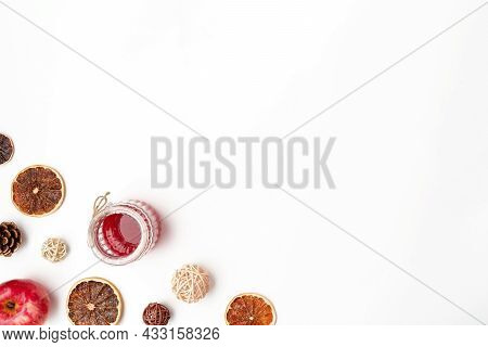 Autumn Flat Lay Composition Of Apples, Fall Foods And Decor On White Background. Ingredients For Jam
