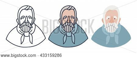 An Elderly Sailor With A Light Blue Neckerchief With Gray Hair, Beard And Mustache. Retired Man On V