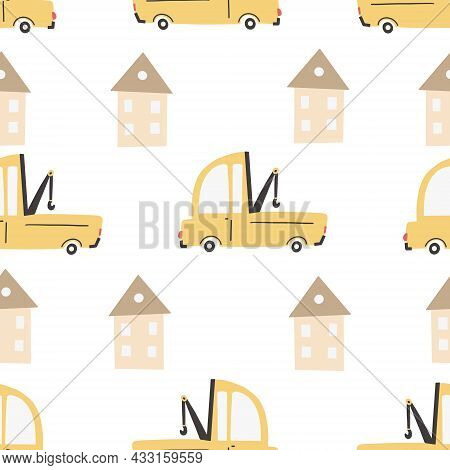 Children's Pattern With Cars. Cars. Transport. Vector Hand-drawn Color Seamless Repeating Children S