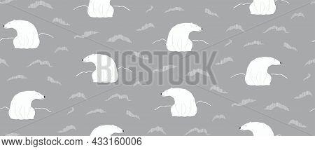 Cute Polar Bears, Northern Lights, Winter Seamless Pattern On Gray Background. Hand Drawn Vector Ill