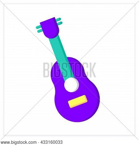 Guitar Flat Icon. Classical Acoustic String Orchestral Musical Instrument. Classical, Ethnic And Mod