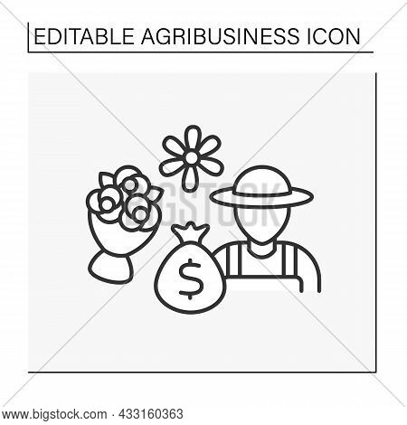 Florist Business Line Icon. Production, Commerce, Trade In Flowers. Creating Bouquets Nd Flower Comp