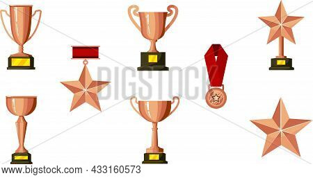 Collection Of Bronze Medals, Cups, Stars And Badges Vector Flat Illustration.