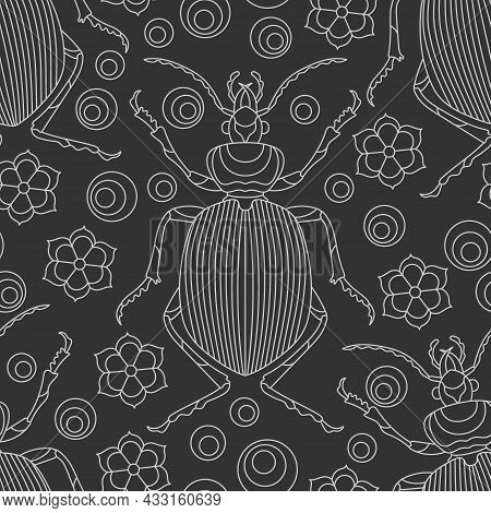 Seamless Pattern With Contour Beetles And Flowers, Light Contour Insects On A Dark Background