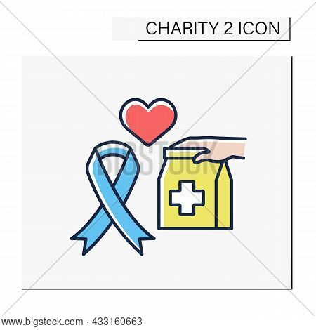 Aids Color Icon. Money, Equipment, Medicines Or Services For People With Aids. Help And Support. Cha