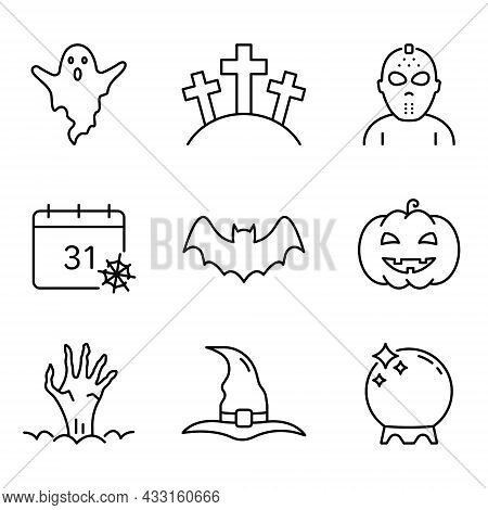 Halloween Set Line Icon. Pumpkin, Ghost, Bat, Calendar, Hat, Magic Ball And Zombie Hand Outline Icon