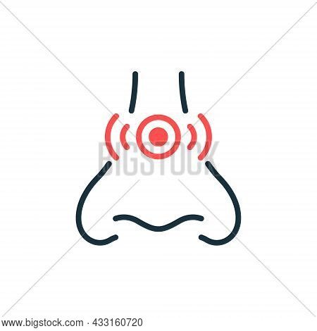 Runny Nose, Congestion Line Icon. Allergy, Rhinitis, Cold Outline Icon. Nasal Sick, Inflammation, Pa