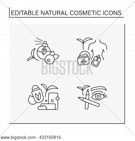 Natural Cosmetic Line Icons Set. Organic Soap And Deodorant, Perfume, Brow And Eye Pencil, Serum For
