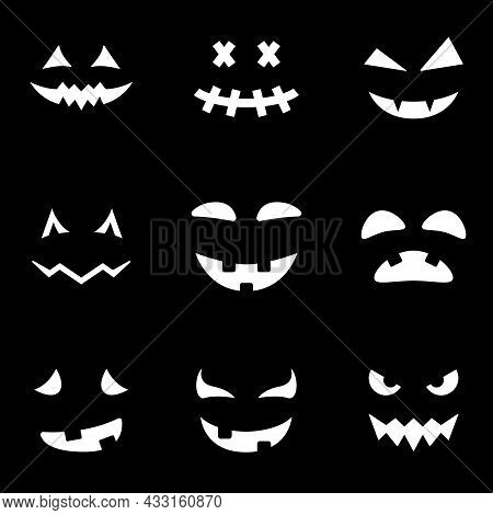 Scary And Funny Faces For Halloween Pumpkin Silhouette Icon On Black Background. Halloween Horror Em