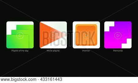 Colored Player Buttons On Black Background. Motion. Options For Selecting Playback Button. Variation
