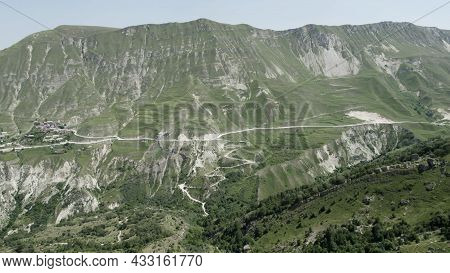 Majestic Mountain Aerial Landscape With Pine Forest On A Summer Sunny Day. Action. Green Mountain Ri