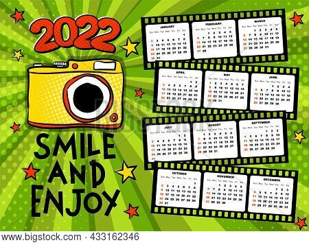 2022 Yearly Calendar Template For Photographers. 12 Months In Photo Film. Week Starts On Monday. Bri