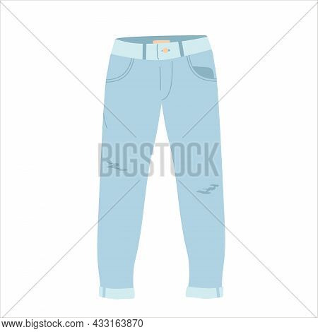 Illustration Denim Jeans Pants. Front View. Jeans Vector Icon. Cartoon Isolated On White Background