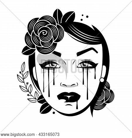Illustration Of Woman Crying With Tears Falling On Her Face.