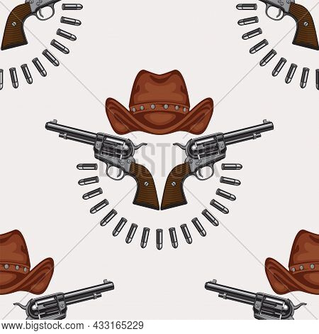 Vector Seamless Pattern With Old Revolvers, Brown Cowboy Hats And Cartridges Laid Out In A Semicircl