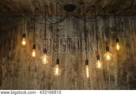 Incandescent Lamps. Set Of Vintage Glowing Light Bulbs.