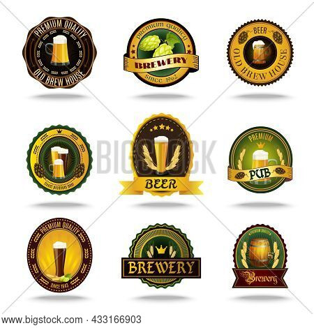 Vintage Style Brewery Cellar Bar Traditional Lager Brand Beer Emblems Labels Set Color Abstract Isol