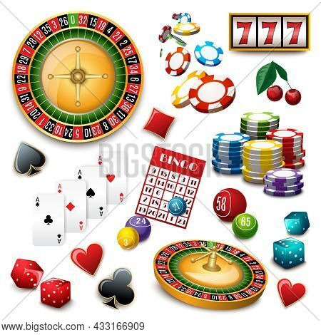 Casino Popular Gambling Online Games Symbols Composition Poster With Roulette Cards Deck And Bingo A