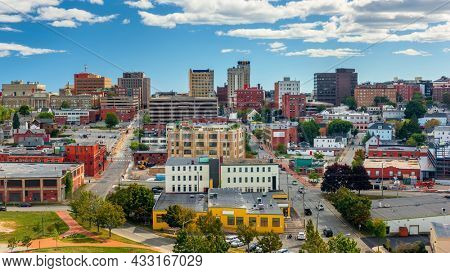 Portland, Maine, USA downtown cityscape in the afternoon.