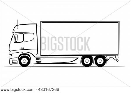 A Hand Drawn Line Art Of A Truck Car. Outline Vector Truck, Lorry, Side View. Urban Cargo Transporta