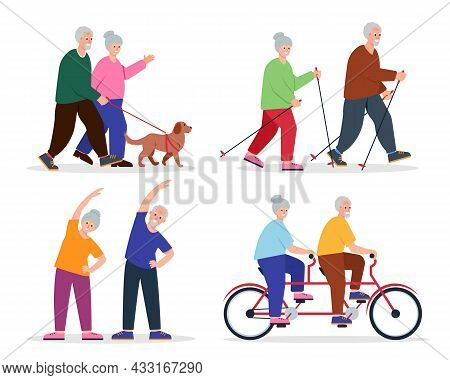Elderly People Activities Set. Happy Senior Couple Spend Time Together. Healthy And Sporty Lifestyle